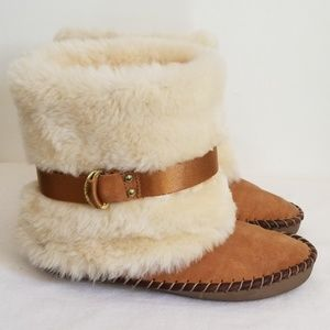 Jessica Simpson Leather Faux Fur Moccasin Boots